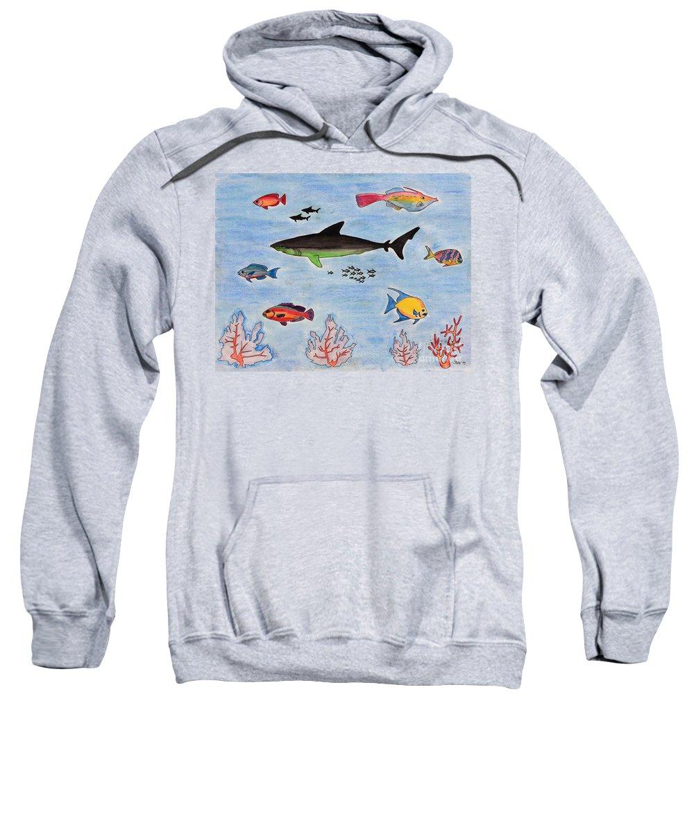 Tropical Fish Sweatshirt featuring the painting Aquarium by Sean Hughes