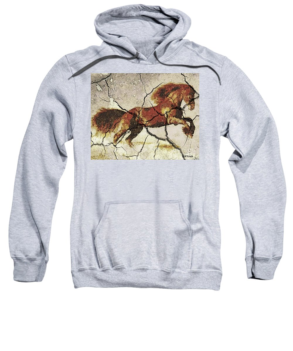 Animal Sweatshirt featuring the drawing Arab Horse by Dragica Micki Fortuna