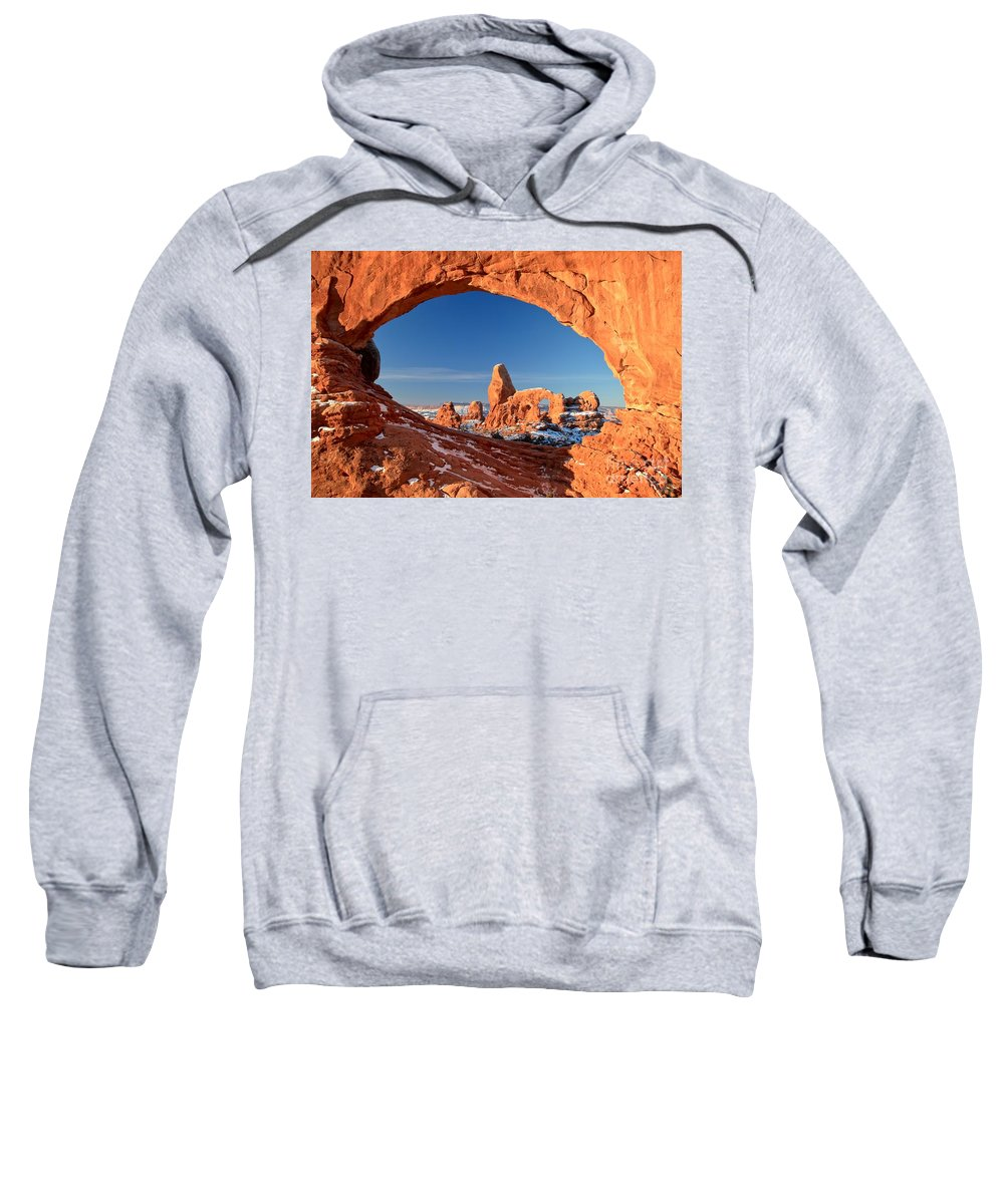 Turret Arch Sweatshirt featuring the photograph Arches Sandstone Frame by Adam Jewell