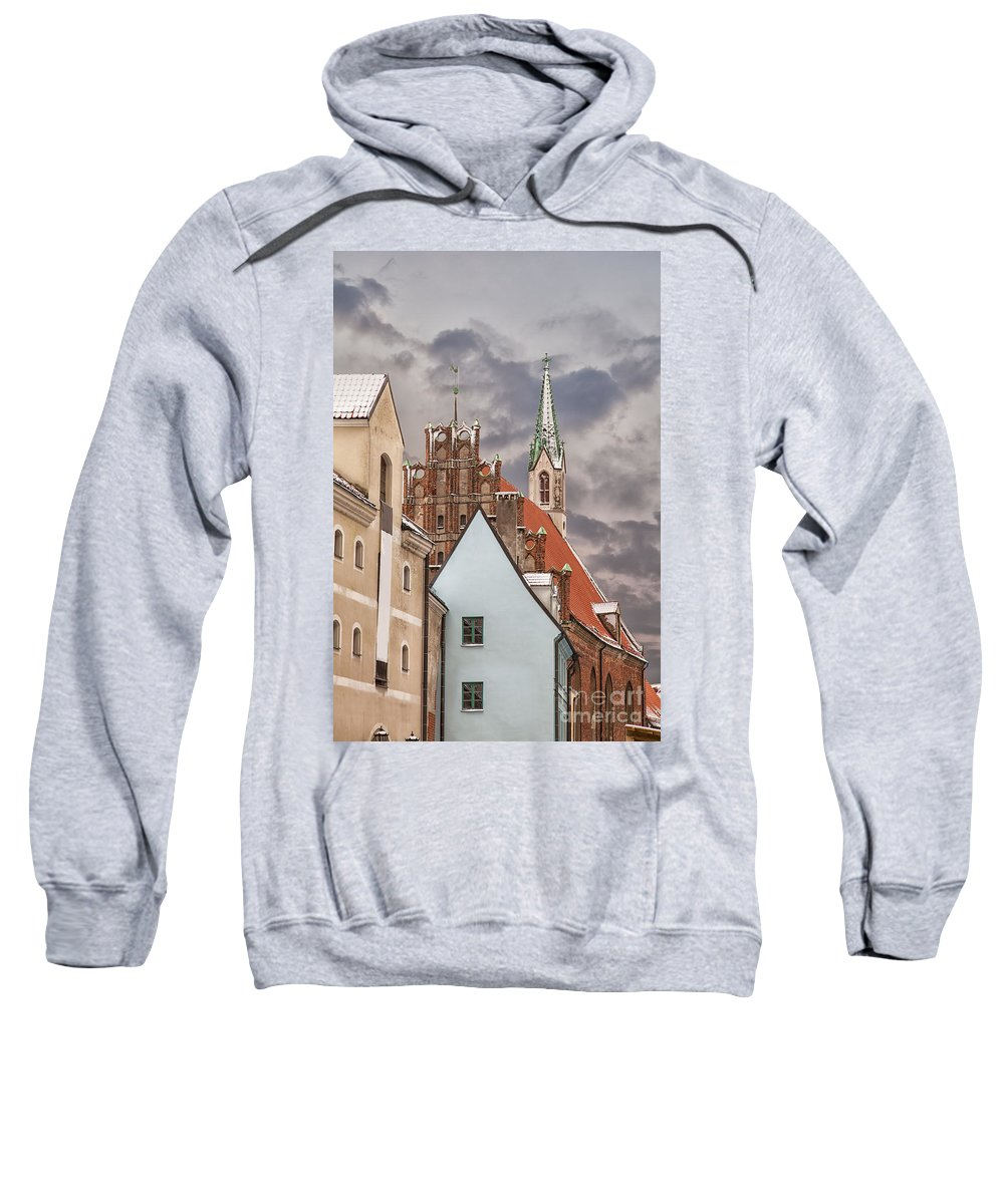 Winter Sweatshirt featuring the photograph Architecture In Riga Latvia by Sophie McAulay