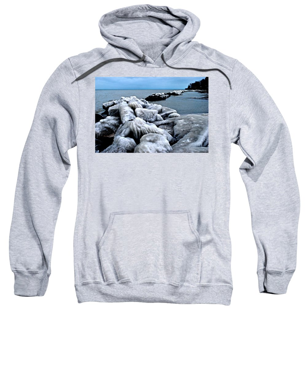 Freezing Sweatshirt featuring the photograph Arctic Waters by Frozen in Time Fine Art Photography