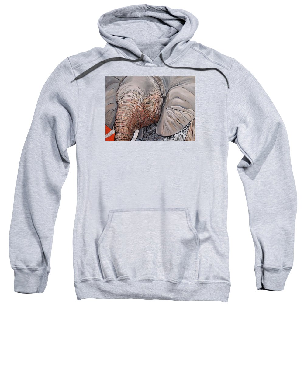 Elephant Bull Painting Sweatshirt featuring the painting Are You There by Aimee Vance