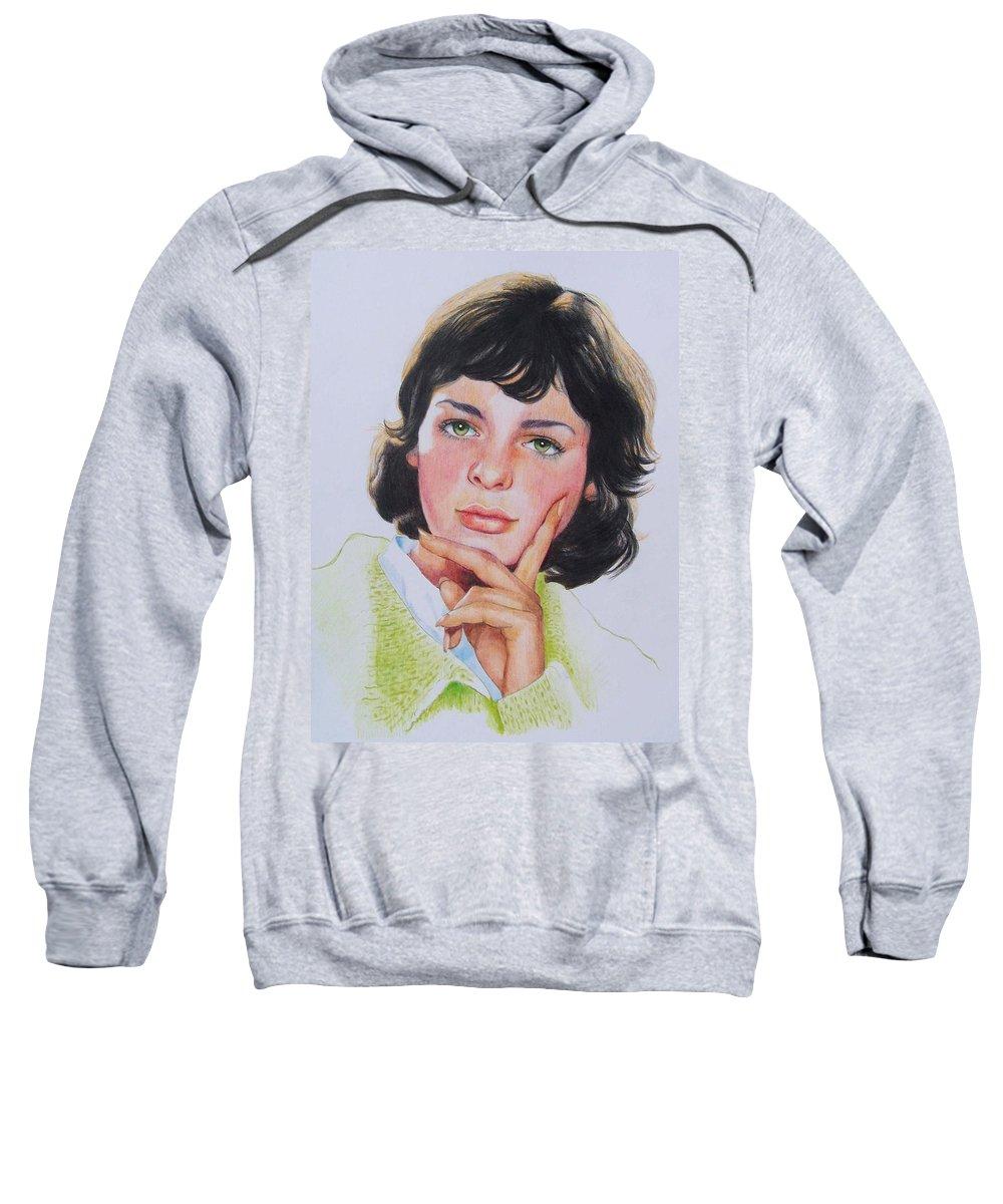 Portrait Sweatshirt featuring the mixed media Ariane by Constance Drescher