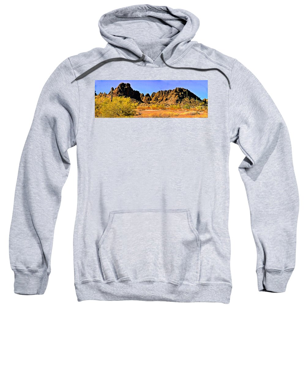 Mountain Sweatshirt featuring the photograph Arizona Panorama Organ Pipe by Bob and Nadine Johnston