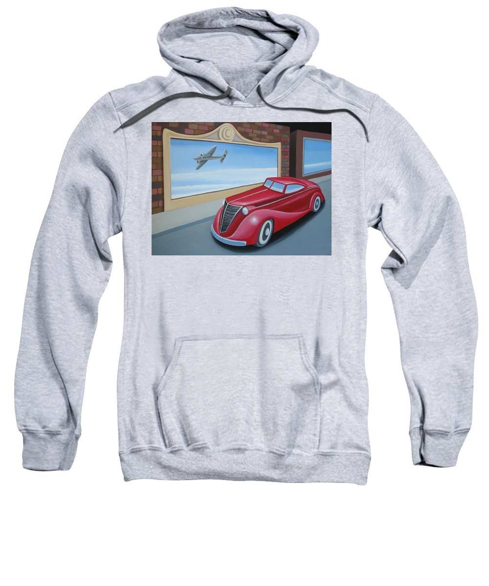 Automotive Sweatshirt featuring the painting Art Deco Coupe by Stuart Swartz
