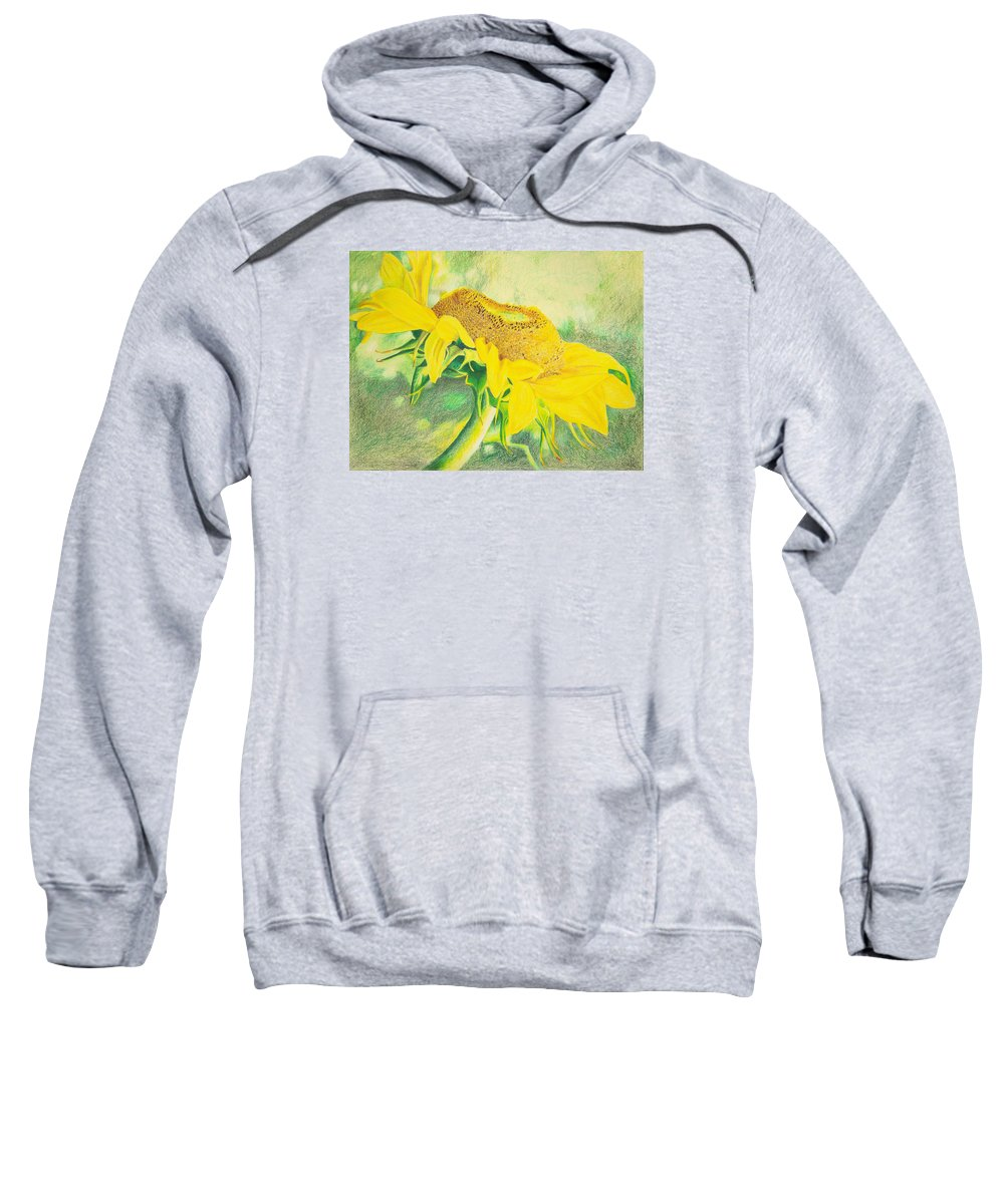 Sunflower Art Print Sweatshirt featuring the mixed media Sunflower Print Art For Sale Colored Pencil Floral by Diane Jorstad