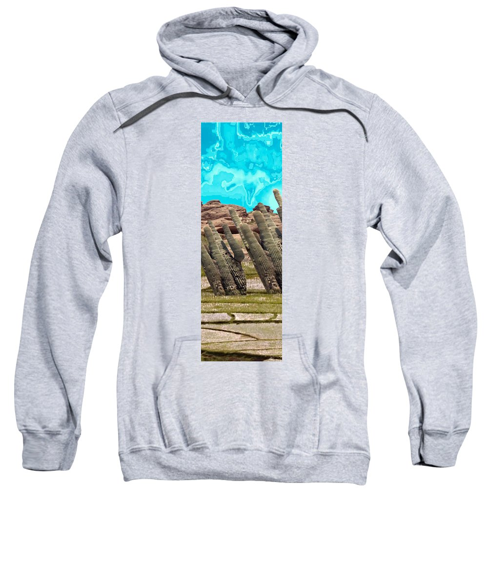 Cactus Sweatshirt featuring the mixed media Art No.1898 American Landscape Cactus Stone Mountains And Skyview By Navinjoshi Artist Toronto Canad by Navin Joshi