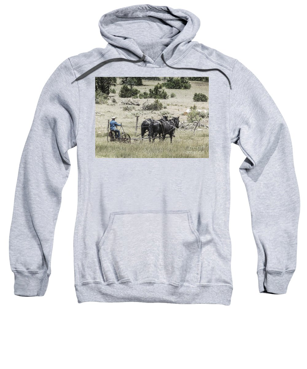Farm Sweatshirt featuring the photograph Art Of Horse Plowing by Janice Pariza