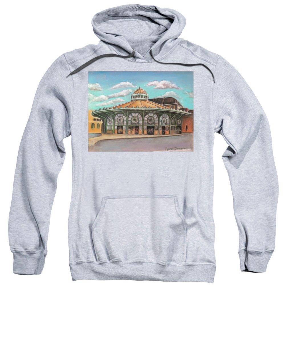 Carousel House Sweatshirt featuring the painting Asbury Park Carousel House by Melinda Saminski