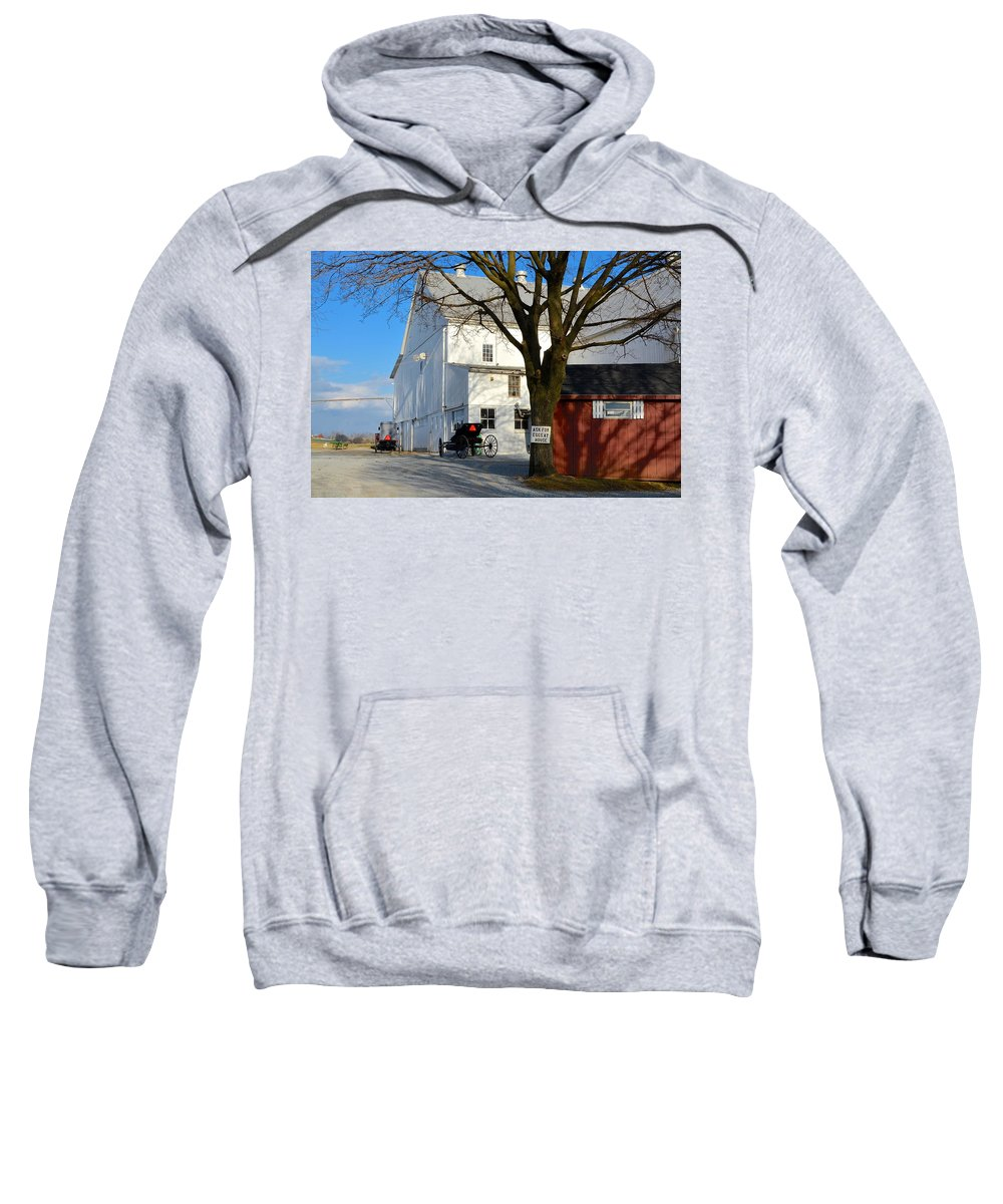 Amish Sweatshirt featuring the photograph Ask For Eggs At House. by Tana Reiff