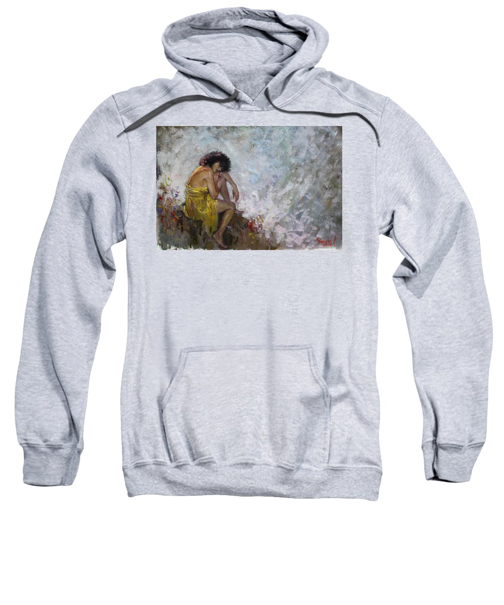 Lady Sweatshirt featuring the painting Aspettando by Ylli Haruni