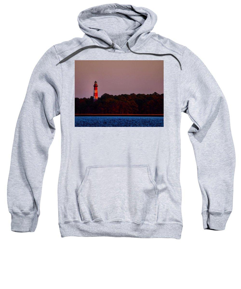 Assateague Sweatshirt featuring the digital art Assateague Lighthouse At Sunset by Alicia Zimmerman