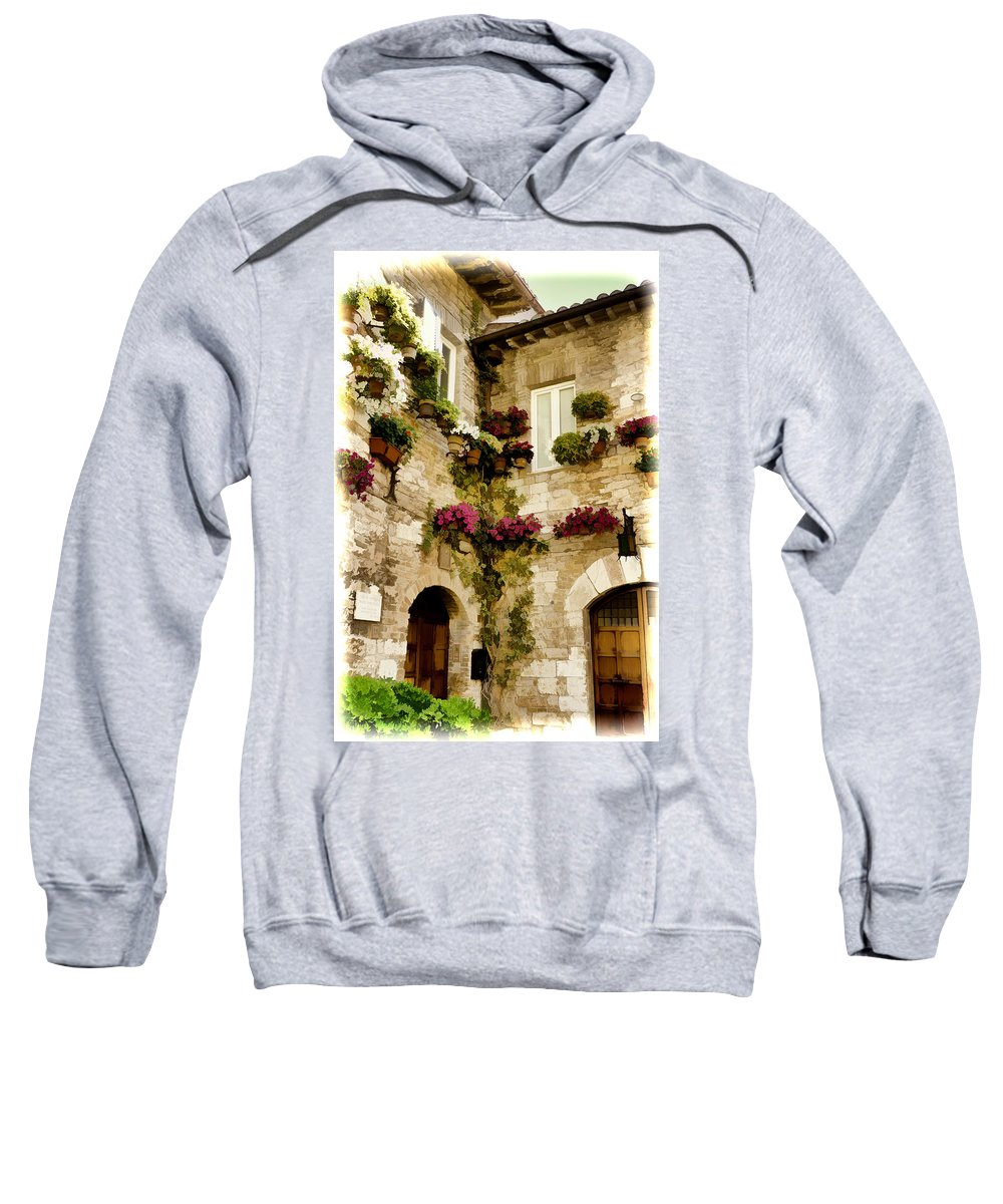 Italy Sweatshirt featuring the photograph Assisi Courtyard by Jon Berghoff
