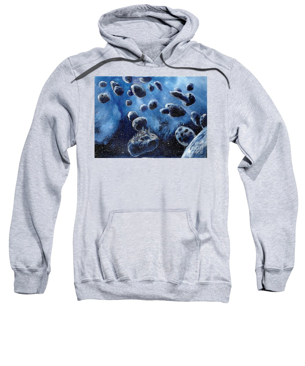 Cosmic Art Sweatshirt featuring the painting Asteroid Mining Station by Murphy Elliott