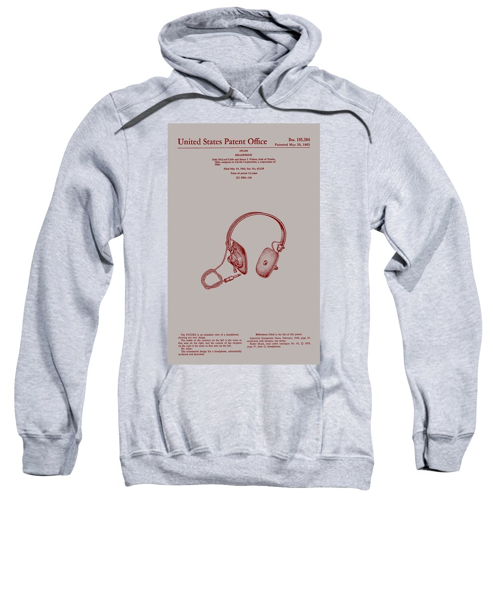 Patent Sweatshirt featuring the drawing Audio Headphone Patent 1963 by Mountain Dreams