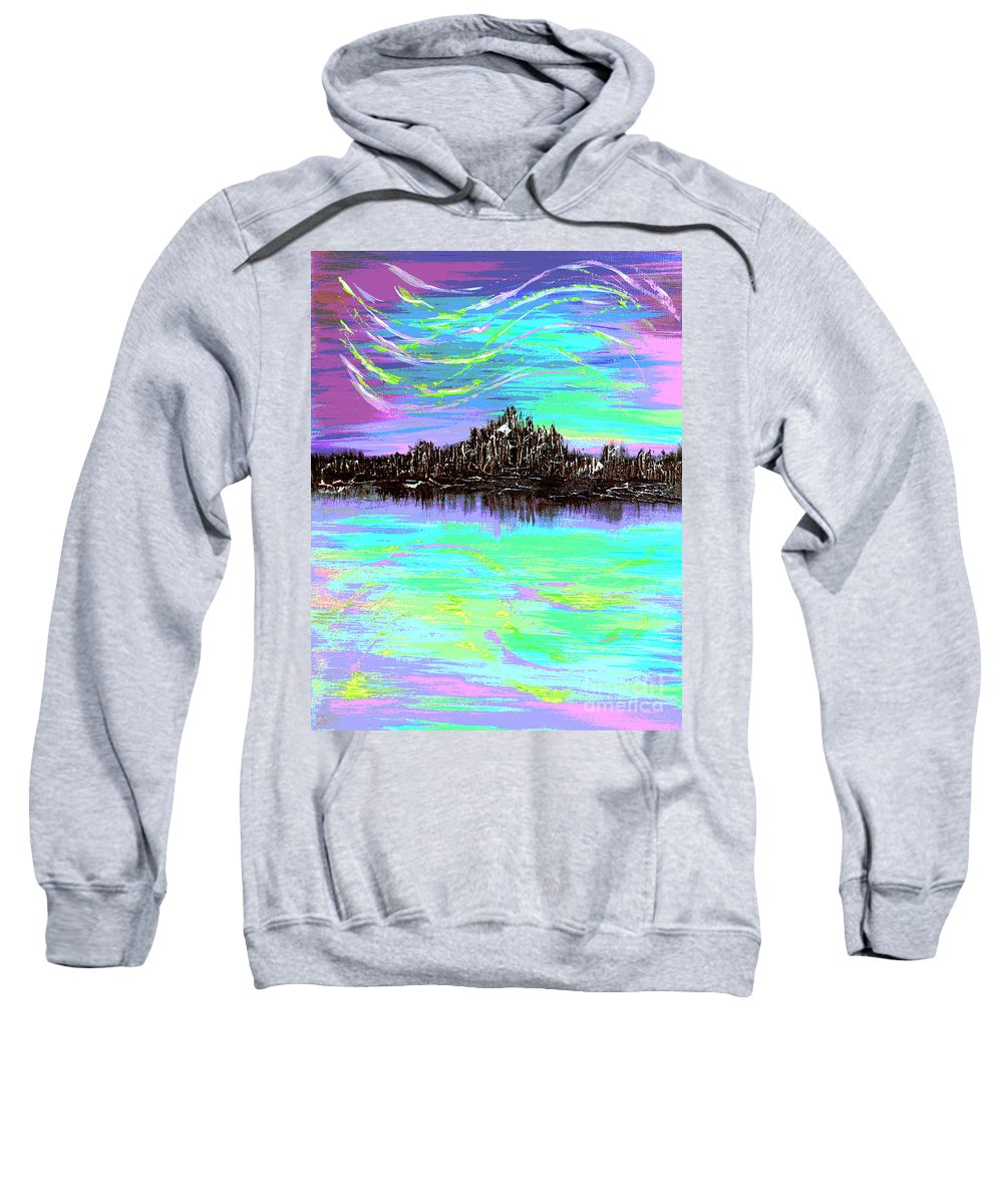 Aurora Borealis Sweatshirt featuring the digital art Aurora Borealis Poster by Alys Caviness-Gober