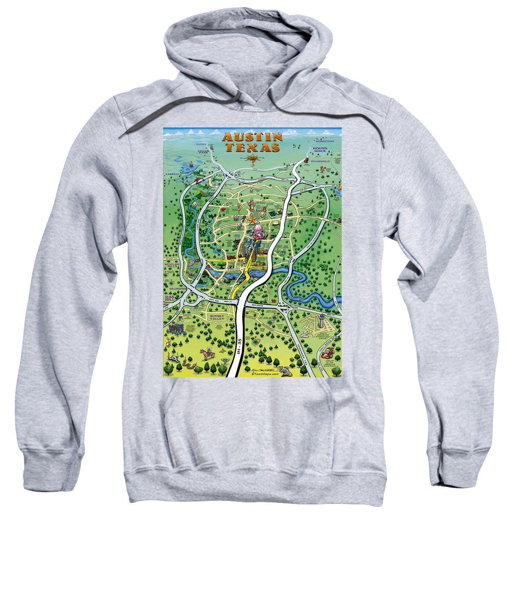 Austin Sweatshirt featuring the digital art Austin Tx Cartoon Map by Kevin Middleton