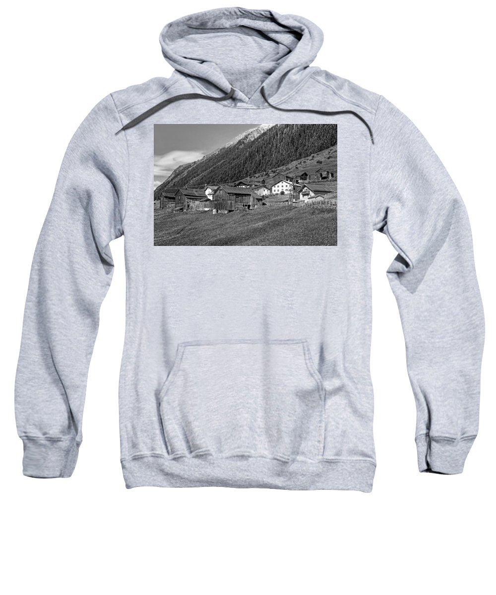 Austria Sweatshirt featuring the photograph Austrian Village Monochrome by Steve Harrington