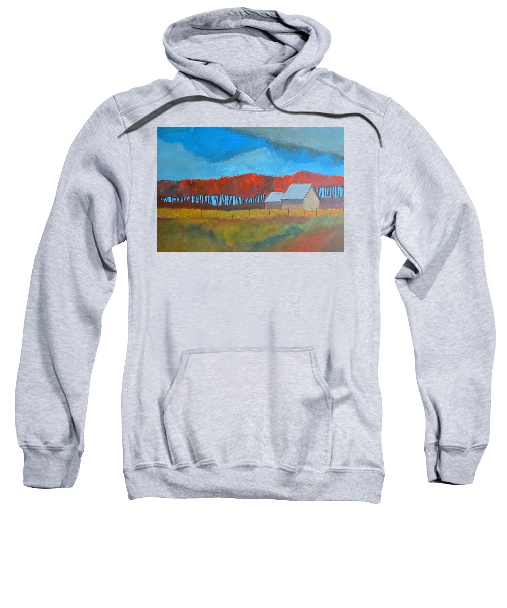 Autumn Sweatshirt featuring the painting Autumn Barns by Rhodes Rumsey