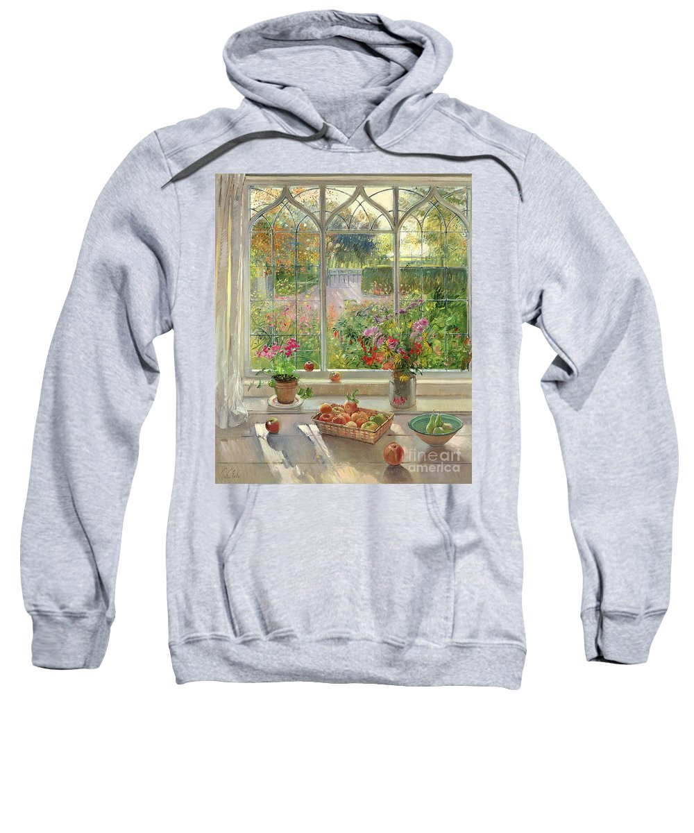 Still Life; Window Ledge; Windowsill; Basket Of Apples; Fruit; Vase Of; Pot Plant; House; Garden Sweatshirt featuring the painting Autumn Fruit And Flowers by Timothy Easton