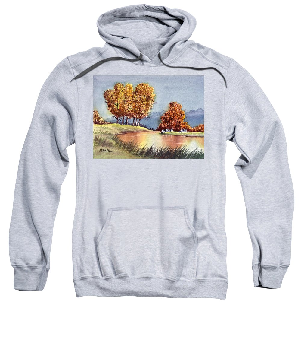 Bill Holkham Sweatshirt featuring the painting Autumn Golds by Bill Holkham