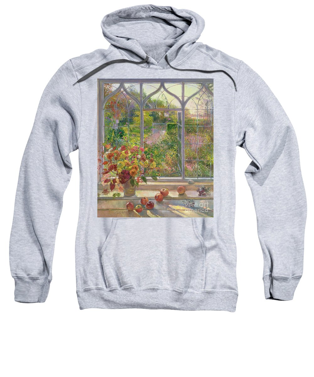 Window; Apple; Fall; Flower; Arrangement; View; Gothic; English Sweatshirt featuring the painting Autumn Windows by Timothy Easton