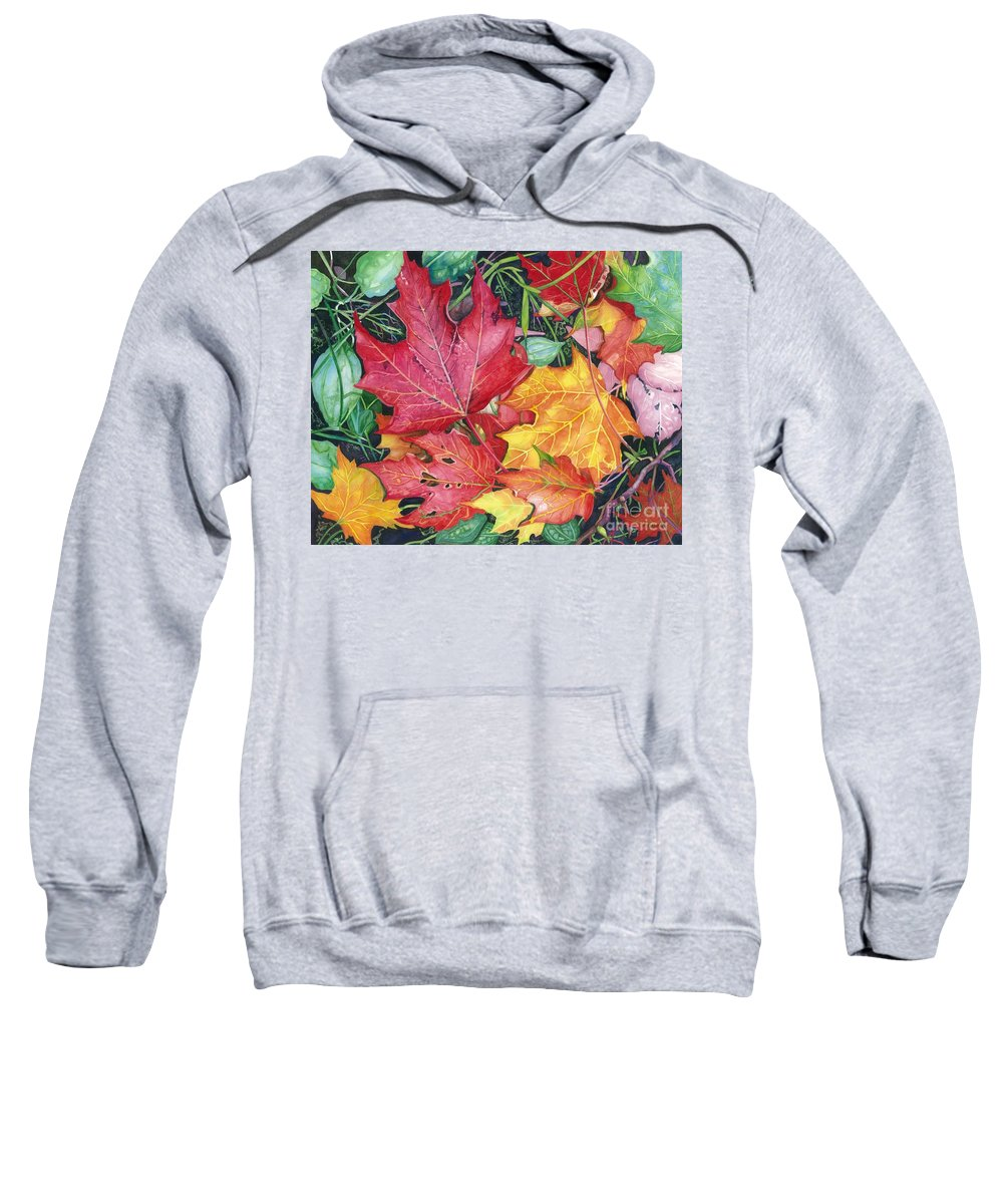 Water Color Paintings Sweatshirt featuring the painting Autumn's Carpet by Barbara Jewell