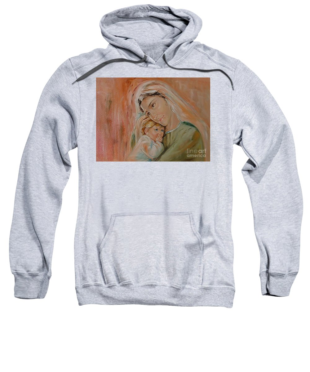 Classic Art Sweatshirt featuring the painting Ave Maria by Silvana Abel