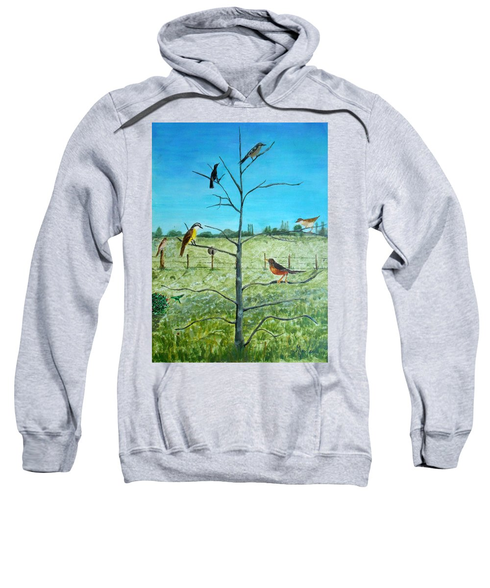 Nature Sweatshirt featuring the painting Aves En Comarca Del Sol by Silvana Miroslava Albano