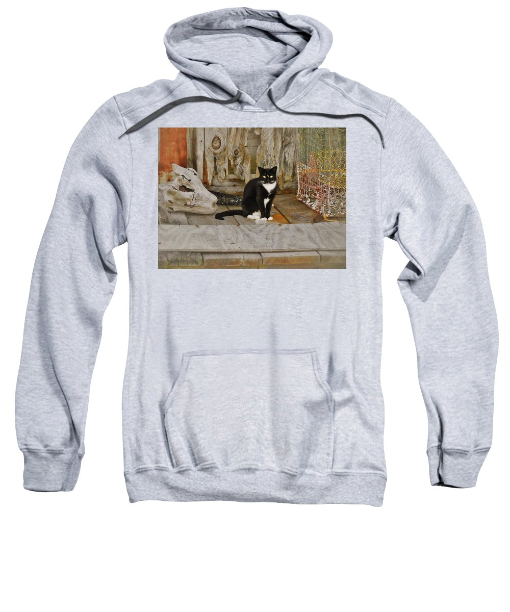Mark Lemmon Cape Hatteras Nc The Outer Banks Photographer Subjects From Sunrise Sweatshirt featuring the photograph Avon Harbor Bxw Cat 9/05 by Mark Lemmon