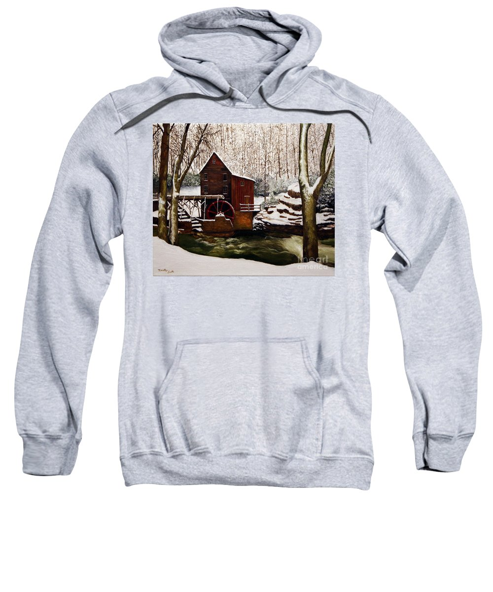 Landscape Sweatshirt featuring the painting Babcock Mill In The Snow by Timothy Smith