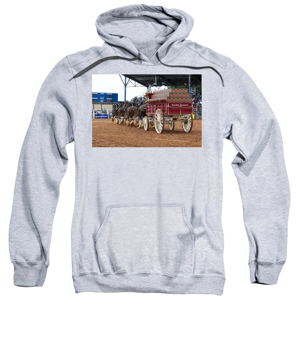 Eight Sweatshirt featuring the photograph Back View Anheuser Busch Clydesdales Pulling A Beer Wagon Usa by Sally Rockefeller
