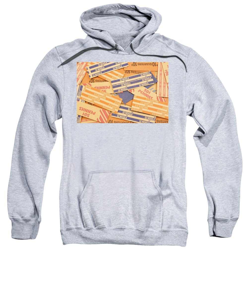Coin Roll Sweatshirt featuring the photograph Background Of Empty Coin Rolls by Keith Webber Jr