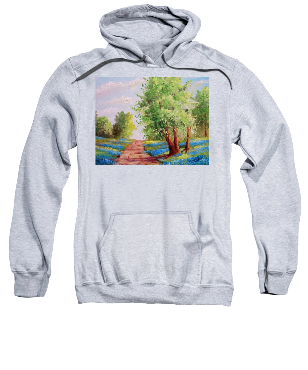 Bluebonnets Sweatshirt featuring the painting Backroad Bluebonnets by David G Paul