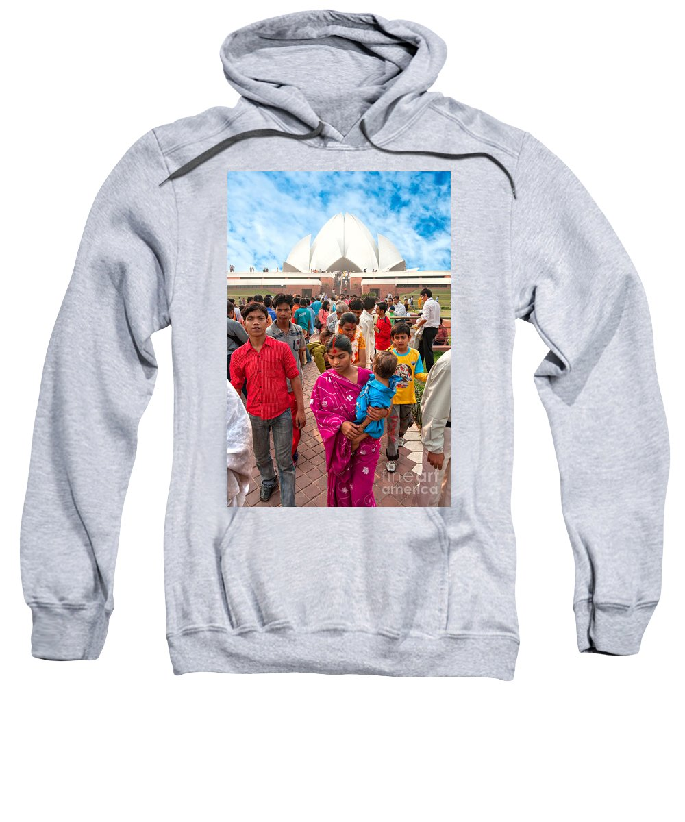 Arches Sweatshirt featuring the photograph Baha'i House Of Worship - New Delhi - India by Luciano Mortula