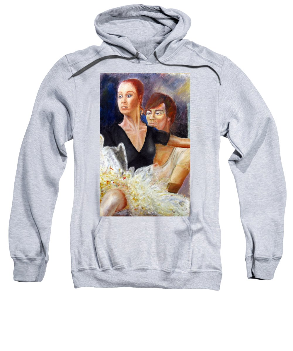 Ballet Sweatshirt featuring the painting Ballet Dancers Rehearse For La Bayadere by Tom Conway