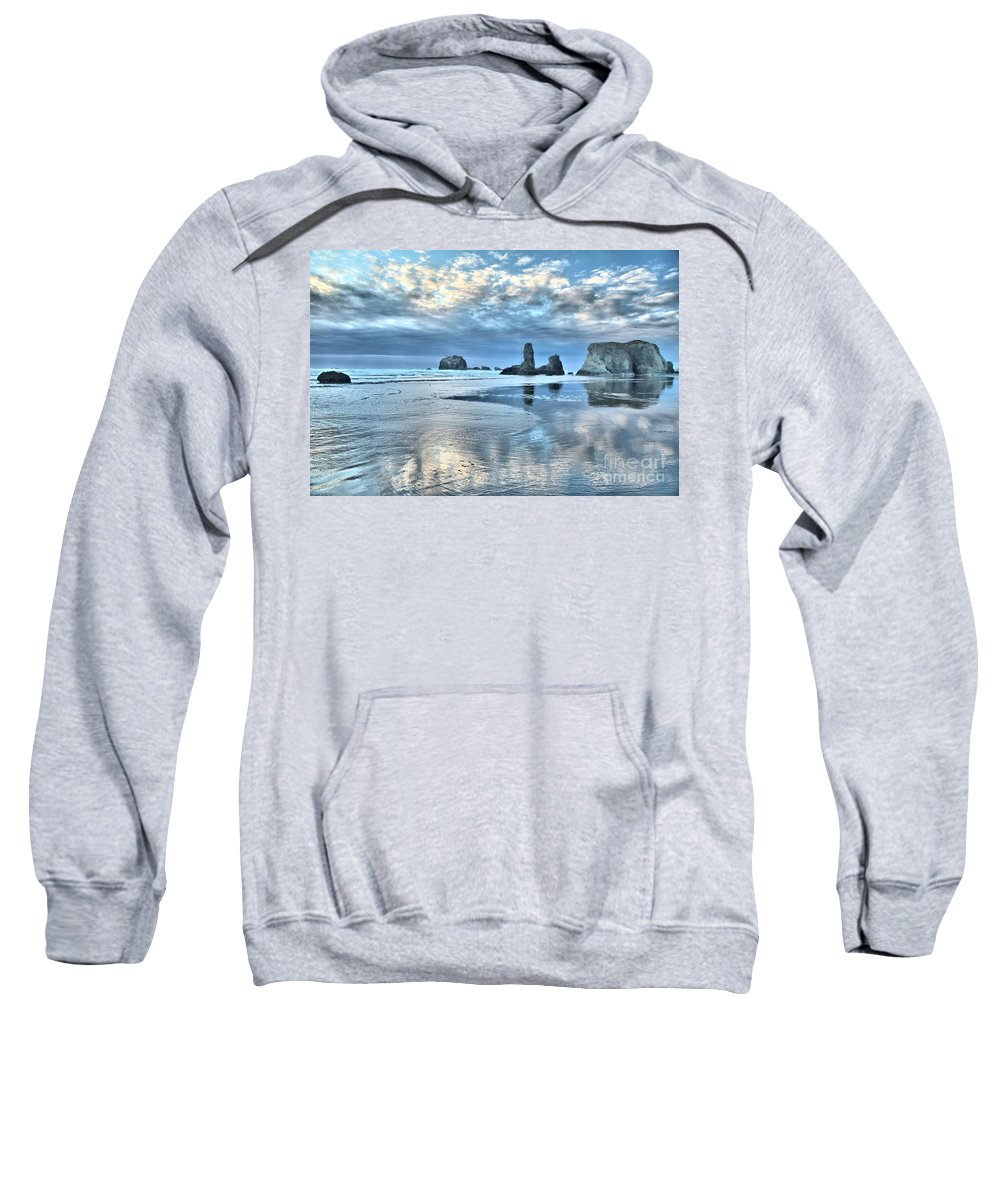 Bandon Beach Sweatshirt featuring the photograph Bandon Sea Stack Reflections by Adam Jewell