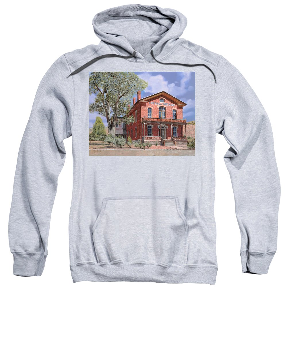 Montana Sweatshirt featuring the painting Bannock-montana-hotel Meade by Guido Borelli