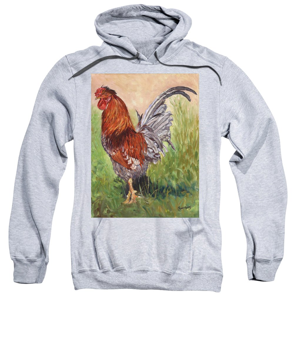 Chicken Sweatshirt featuring the painting Bantam Cockerel by Margaret Merry