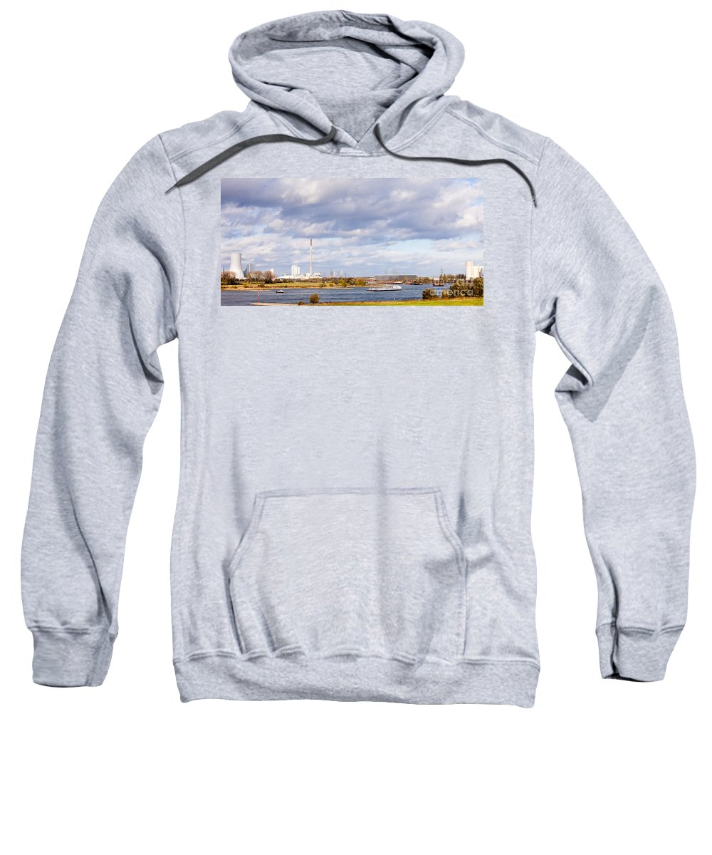 Barge Sweatshirt featuring the photograph Barges On River Rhine At Duisburg Germany Europe by Stephan Pietzko