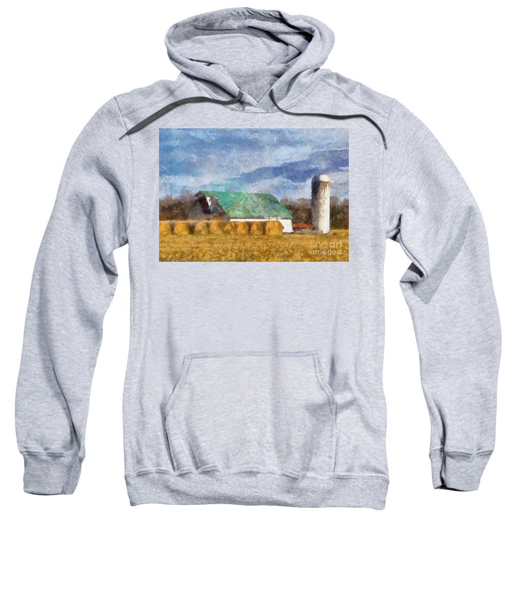 Barn Sweatshirt featuring the photograph Barn And Silo In West Virginia by Kerri Farley