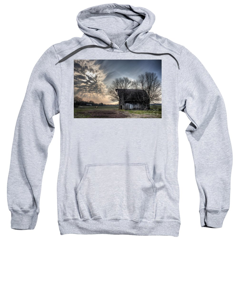2008 Sweatshirt featuring the photograph Barn In A Field With A Horse by Larry Braun