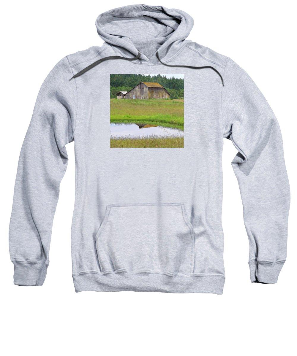 San Juan Island Sweatshirt featuring the photograph Barn Reflection by Art Block Collections
