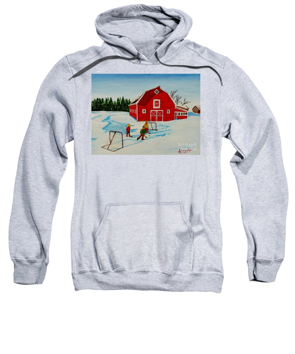 Hockey Sweatshirt featuring the painting Barn Yard Hockey by Anthony Dunphy