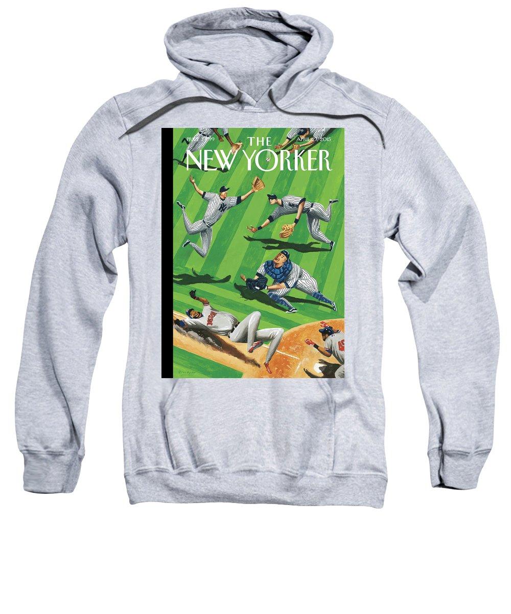 Yankees Sweatshirt featuring the painting Baseball Ballet by Mark Ulriksen