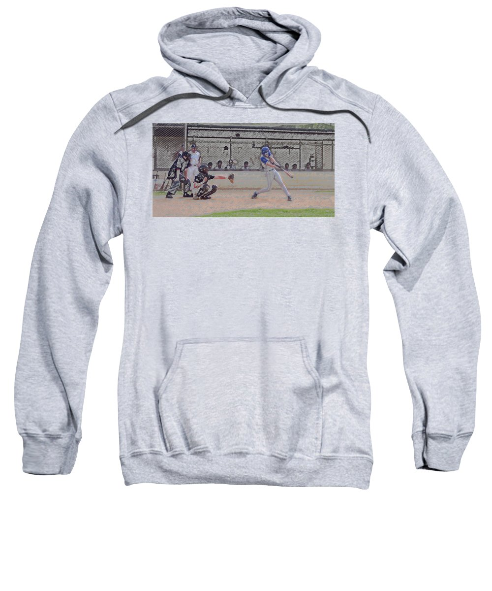 Sports Sweatshirt featuring the photograph Baseball Batter Contact Digital Art by Thomas Woolworth