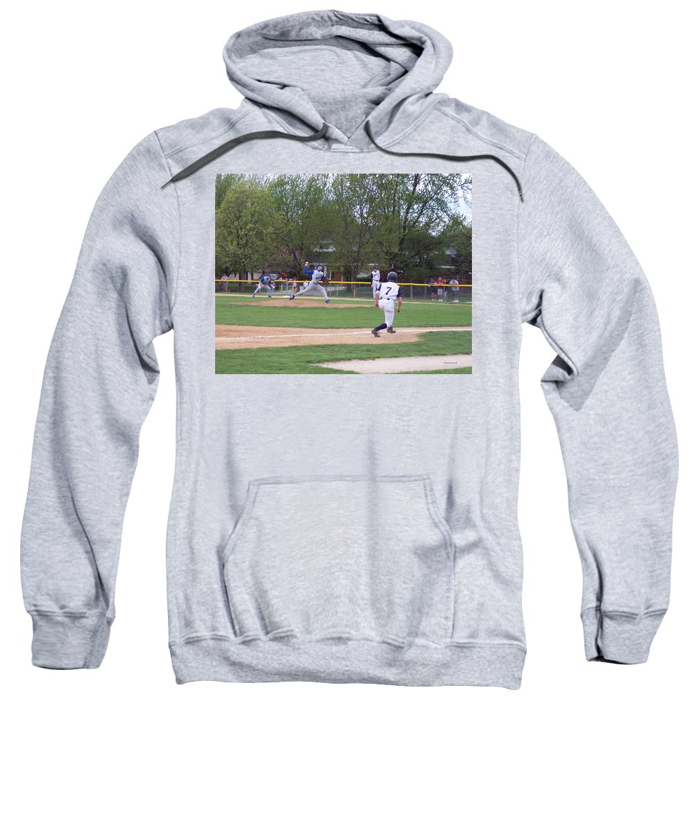 Sports Sweatshirt featuring the photograph Baseball Pitcher The Delivery by Thomas Woolworth