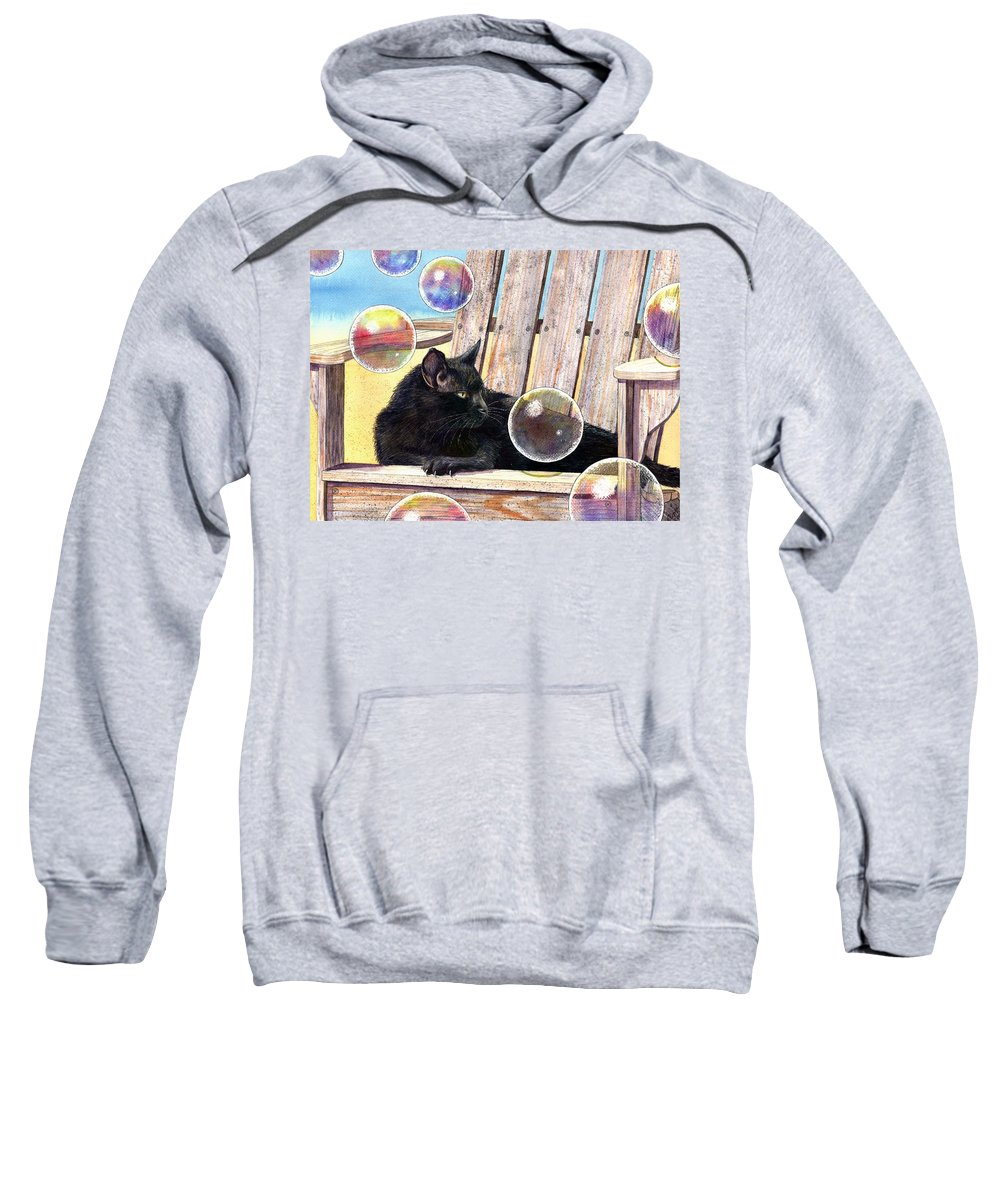 Cat Sweatshirt featuring the painting Basking In Bubbles by Catherine G McElroy
