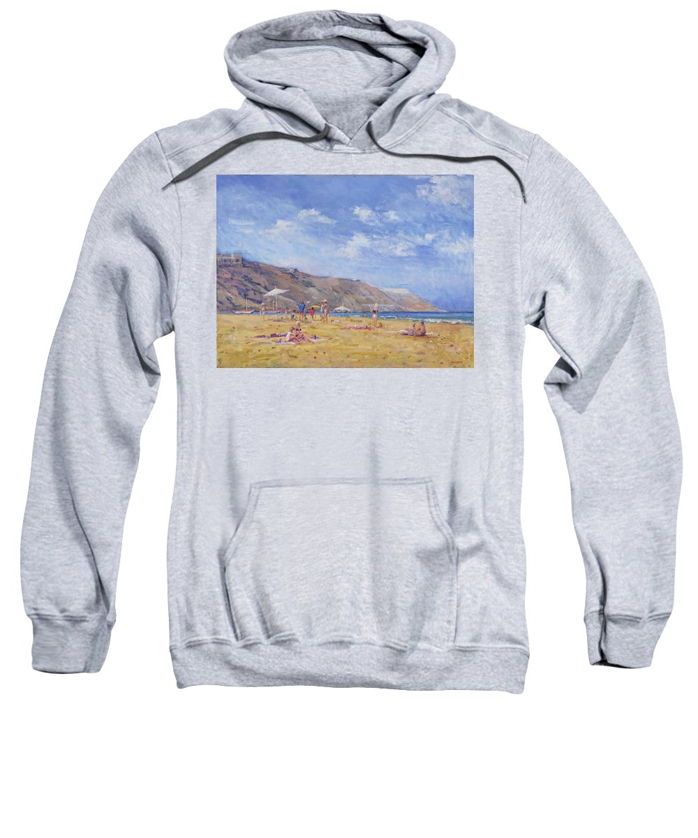 Coast Sweatshirt featuring the painting Bathers, Gozo by Christopher Glanville