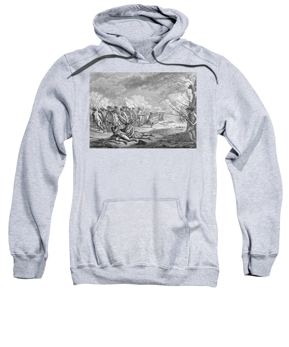 Battle Sweatshirt featuring the photograph Battle Of Lexington, April 19th 1775, From Recueil Destampes By Nicholas Ponce, Engraved by Francois Godefroy